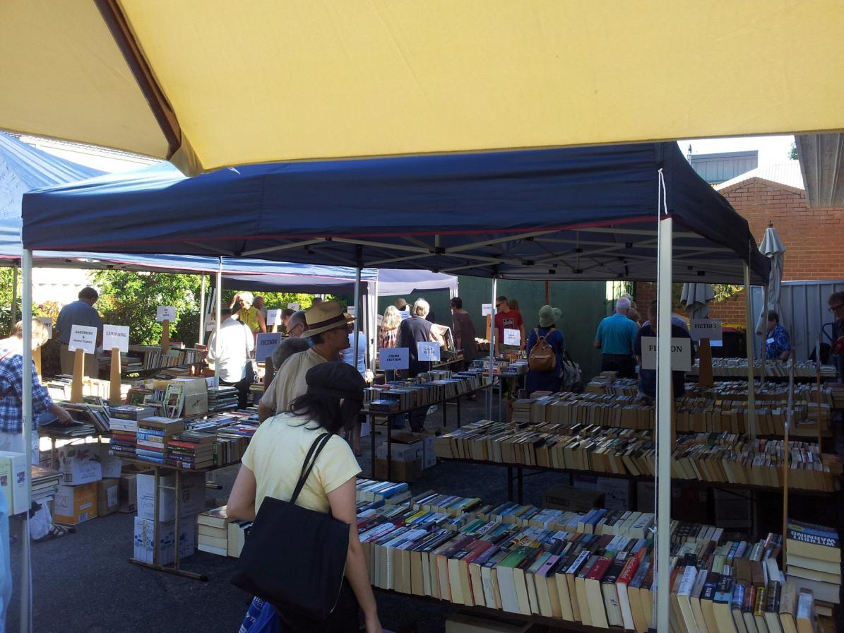 Fundraising second hand book sale in the grounds of the RWAHS headquarters